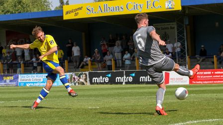 Joe Iaciofano was on target again for St Albans City at Slough Town, his fifth of the season. Pictur