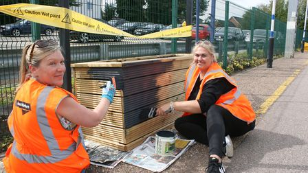 Govia Thameslink Railway staff painted planters with shrubs and flowers at Royston station. Picture: