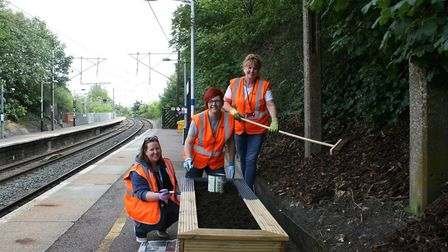 Govia Thameslink Railway staff painted and filled planters with shrubs and flowers at Royston statio