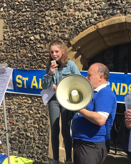 About 450 people turned up for the anti-Parliament suspension protest at St Albans Clock Tower. Pict