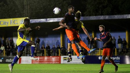 Albert Adu scores his first goal for the club during St Albans City's game against Wealdstone at Cla