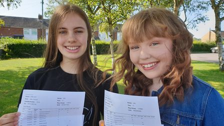 Meridian School's Abby Chisnall and Millie Falconer were all smiles after opening their GCSE results
