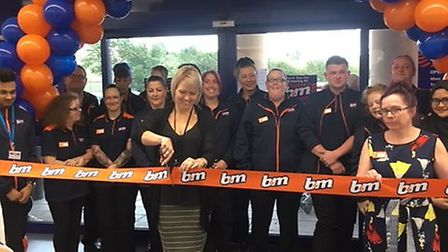 Staff at B&M celebrated the grand opening of the shop in Huntingdon