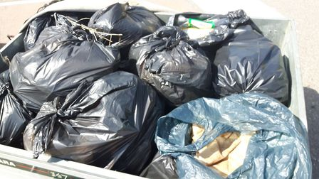 Rubbish collected from Therfield Heath after travellers left the site on Saturday. Picture: The Cons
