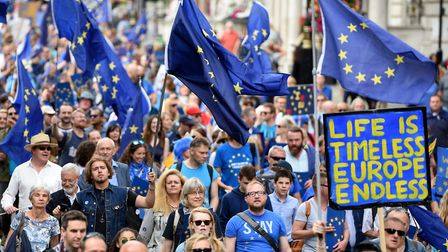 A demonstrations in London demanding a pause in the Brexit process and call for tight economic, cult