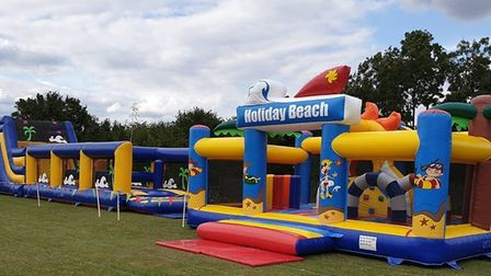 On sunny days, the outdoor arena can used for InflataBOUNCE or team building days. Photo credit: Inf