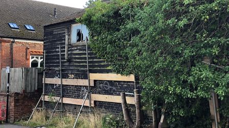 Old London Road in St Albans has been reopened after a dangerous barn was made safe. Picture: St Alb