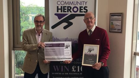Left to right: Maltings manager Phil Corrigan and Peter Templeman, who has won the Maltings Communit