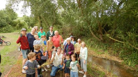 Volunteers planting along the River Shep. Picture: Rob Mungovan