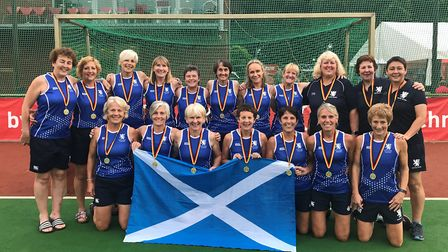 Huntingdon star Pam Begg (back row, third from left) as part of the Scotland Masters 55s team. Pictu