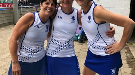 Pam Begg (right) with sister Mo Fawcett (left) and Scotland Masters 55s captain Lil McNab. Picture: