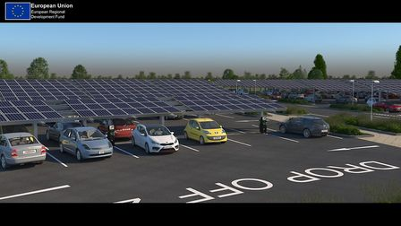 How the solar panel array at St Ives park and ride could look. Picture: CONTRIBUTED