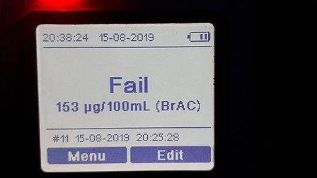 The breathalyser result from a woman in Bassingbourn. Picture: @SouthCambsCops