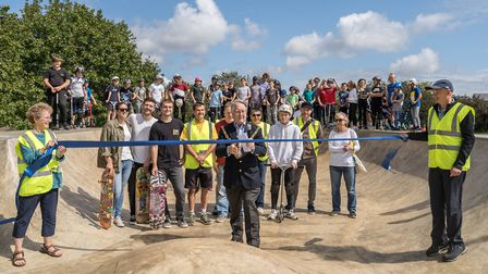 Godmanchester Mayor Dick Taplin opens the new Godmanchester Skatepark with members of the steering c