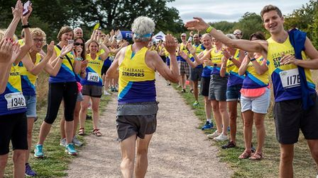 St Albans Striders' Jack Brooks finishes his 500th marathon at the St Albans Stampede. Picture: GRAH