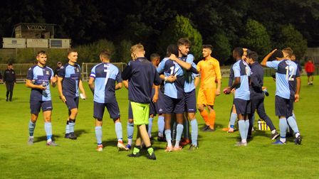 St Neots Town players following the final whistle. Picture: DAVID R W RICHARDSON/RICH IN VIDEO (2019