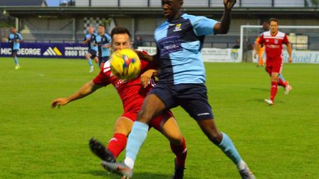 Tim Nkala on the ball for St Neots Town in their FA Cup replay success against Godmanchester Rovers.
