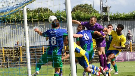 Darren Foxley's corner is cleared off the line in the game between St Albans City and Dorking Wander