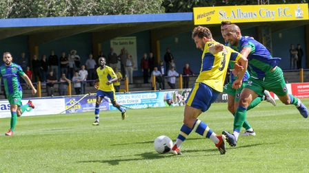 Joe Iaciofano hits the post for St Albans City against Dorking Wanderers. Picture: JIM STANDEN