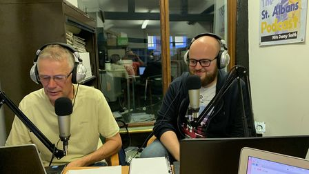The St Albans Podcast has launched its newest show, A Podful of Saints. Left to right: Dave Tavener,