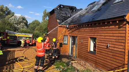 A fire broke out on the roof of a house in Little Gransden on Saturday afternoon.
