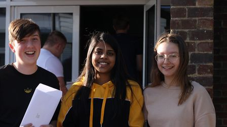 Cameron Appleby, Bindiya Patel and Ella Keep-Parker. Picture: Freman College