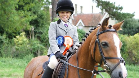 Ashwell Show 2018 - Temperance Marshall, 8, with her horse Goldie - Second in the Beginners Working