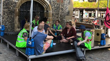 The youth activists have set up camp at the Clock Tower, St Albans. Photo: Laura Bill