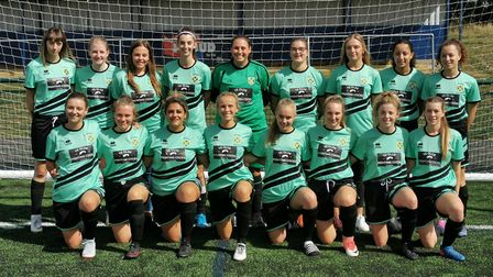 St Albans Ladies line-up prior to the historic first Women's FA Cup match.