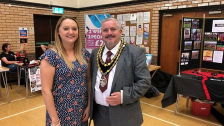 The Royston Rethink Mental Illness Peer Support Group founder Jessica Lake with town mayor Councillo