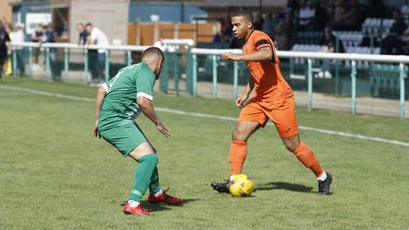 Ty Ward on the attack for St Ives Town against Biggleswade Town. Picture: LOUISE THOMPSON