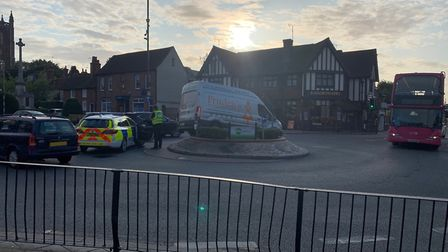 A van got stuck on a roundabout in St Albans. Picture: Steve Johnston