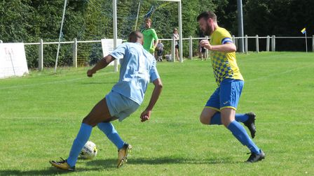 Ed Canham in action for Harpenden Town against Leighton Town. Picture: RAY CANHAM