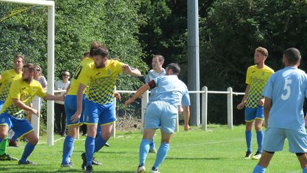 Harpenden Town defend a corner against Leighton Town. Picture: RAY CANHAM