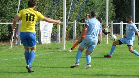 Bobby Dance in action for Harpenden Town against Leighton Town. Picture: RAY CANHAM