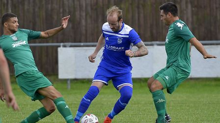 Josh Dawkin on the ball for Godmanchester Rovers in the win against Gorleston. Picture: DUNCAN LAMON