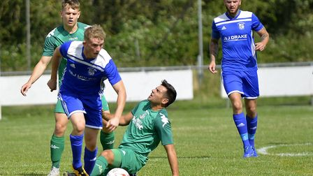Harry McGregor scored his first Godmanchester Rovers goal in the win against Gorleston. Picture: DUN