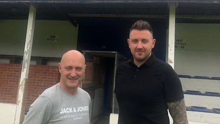 Former Eynesbury United boss Mark Spavins (left) with new boss Craig Smith (right). Picture: CONTRIB