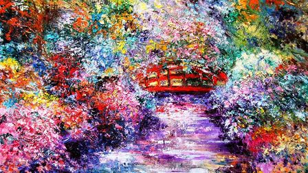 The Red Bridge by Mary Ann Day is one of the pictures on display at the Impressions of Colour exhibi