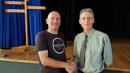 Campaign for Colney coordinator Brett Ellis (left) with celebrity Peter Tatchell.