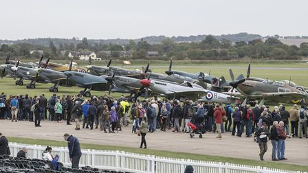Visitors to the 2018 Battle of Britain Air Show enjoying the historic aircraft on the flightline wal