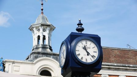 The Gatwards of Hitchin clock in Market Place, Hitchin. Picture: DANNY LOO