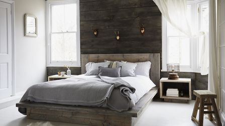 Chamonix rustic lodge-luxe platform bed has been created with timeworn reclaimed wood. From 1,095.00