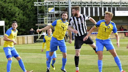 Charlie De'Ath heads St Ives Town into the lead against Berkhamsted. Picture: DUNCAN LAMONT