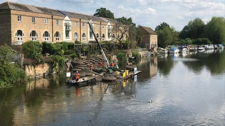 This picture of a previous round of repair work to a bank beside the River Great Ouse in St Neots wa