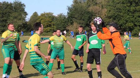 Action from Hatfield Seniors' 4-1 win over Phoenix A in Herts Ad Sunday League Division Three. Pictu