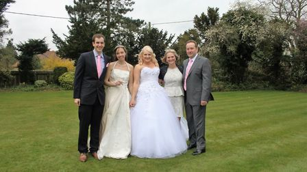 The family at daughter Beccy's wedding to Emily. Picture: Courtesy of Gary Noble