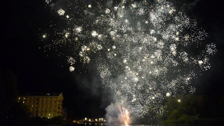 The fireworks at the illuminated boat parade in St Ives