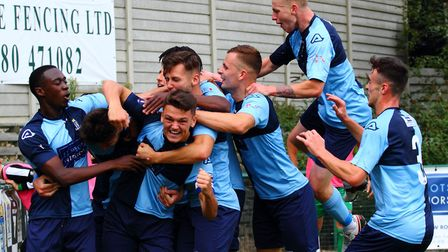St Neots Town players celebrate Sam Goode's opener in their FA Cup draw with Biggleswade Town. Pictu