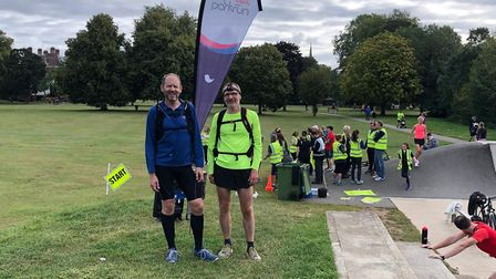 Ed Rhodes and Patrick McGuinness shortly after arriving in Higginson Park, Marlow for the parkrun.